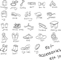 hand drawn set of accessories, doodles