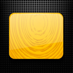 Technological black background with holes and a wooden plate. Ve