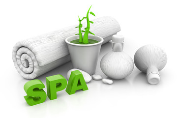 Spa massage setting with green pant, spa background .