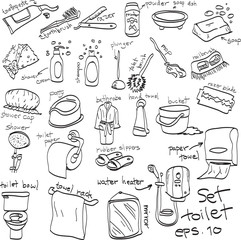 hand drawn set of toilet objects, doodles