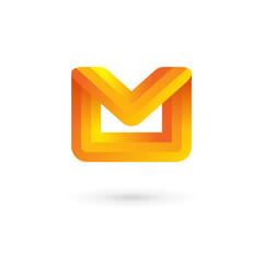 E-mail envelope letter M logo icon design template