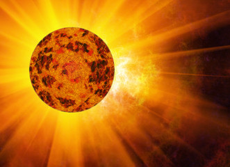 rays beam of hot planet on space stars backgrounds