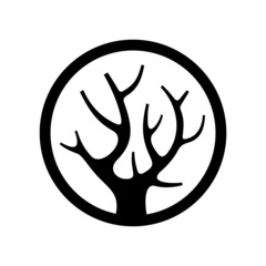 Decorative Simple Tree Logo in the Circle. Vector