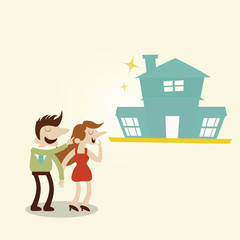 Happy family with new house.