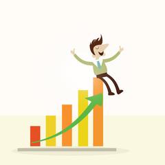 Concept,Business man sitting on profit graph.