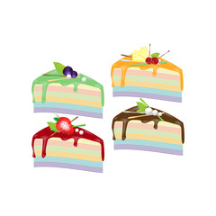 4 pieces of Colorful crape cakes