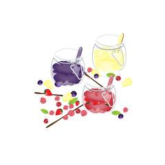 Blueberries jam, strawberries jam and pineapple jam in jar.