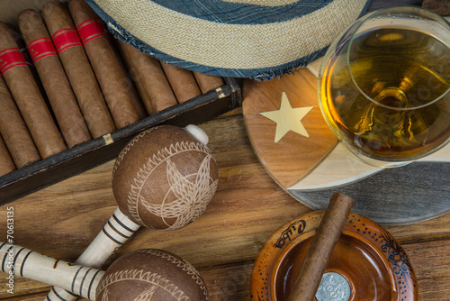 Poster Cigars and Rum or alcohol on table