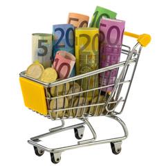 Einkaufswagen mit Geld.