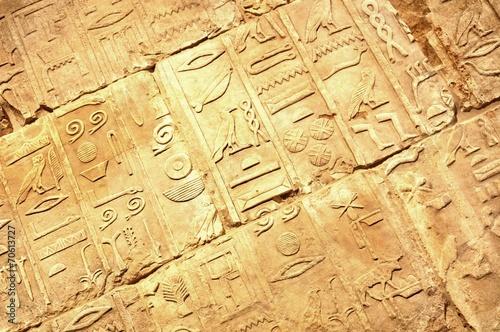 Foto op Canvas Wand Egyptian hieroglyphs
