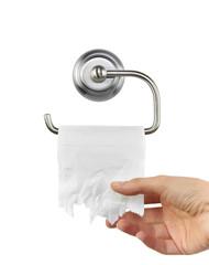 WC Papier auf Halter mit Hand