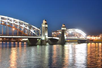 Peter the Great Bridge at night