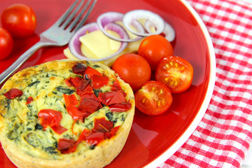 Colorful Healthy lunch. Quiche, cheese, tomatoes, red onion.