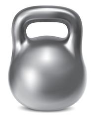 Kettlebell weight silver isolated. Illustration