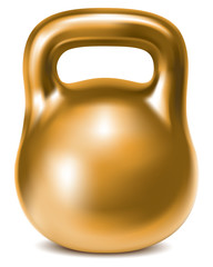 Kettlebell weight gold isolated. Illustration