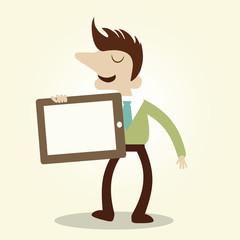 Business man show digital tablet.