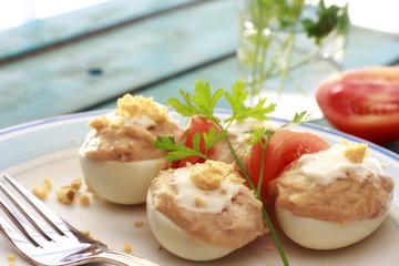Closeup of Spanish deviled eggs