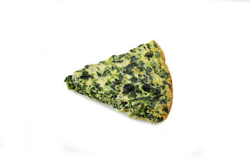 Crustless Spinach Quiche Isolated Over White