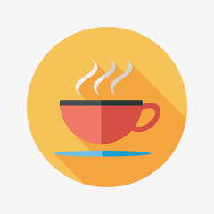 coffee flat icon with long shadow