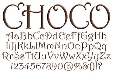 Letters of the alphabet with digits made from chocolate syrup