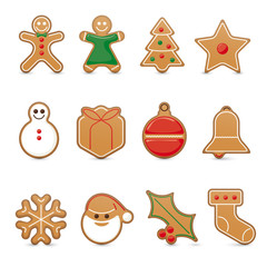 Gingerbread cookie vector icon set, 3D effect