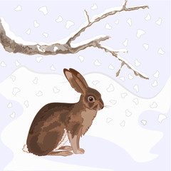 Bunny in the snow christmas theme vector