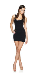 Sensual woman in black mini dress