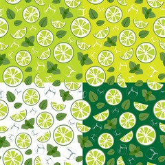 Pattern with lime slices, ice cubes and mint