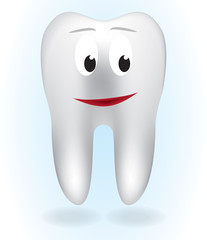 White tooth on blue background