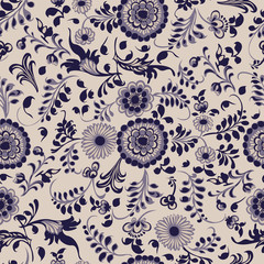 Seamless pattern, floral decorative elements in gzhel style