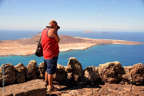 Leinwanddruck Bild fotografiando la isla graciosa