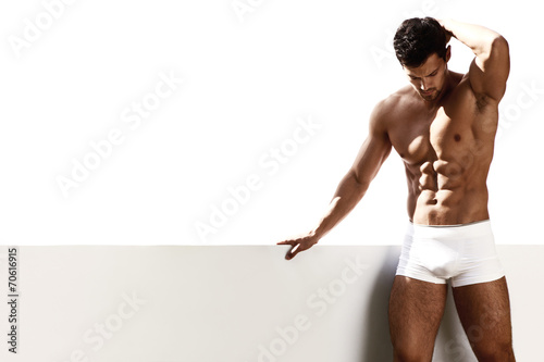 Sexy portrait male model in underwear - 70616915