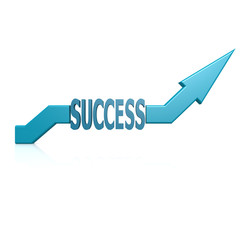 Success blue arrow