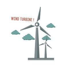 Wind turbine symbol on white background,Retro colour concept