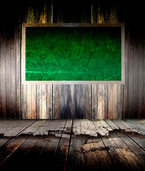 abstract the green blackboard on grunge wall