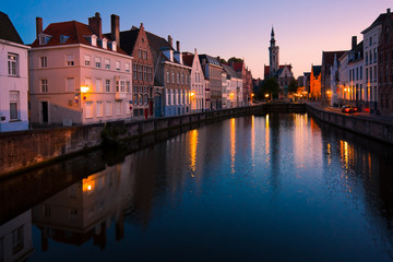 View of a canal in Bruges at twilight