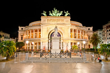 Teatro Politeama at night in  Palermo, Sicily. Italy.