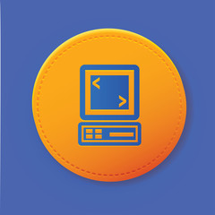 Computer symbol on yellow button,vector