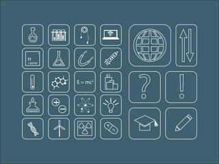 Modern vector thin line icons for science