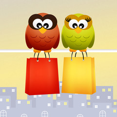 owls with shopping bags