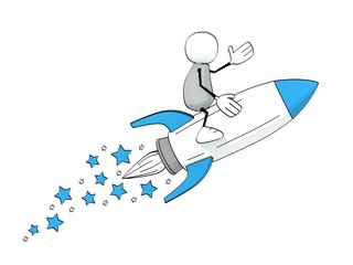 little sketchy man flying on a blue rocket with stars