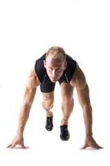 Runner in the starting position