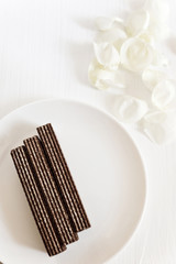 Delicate chocolate wafers