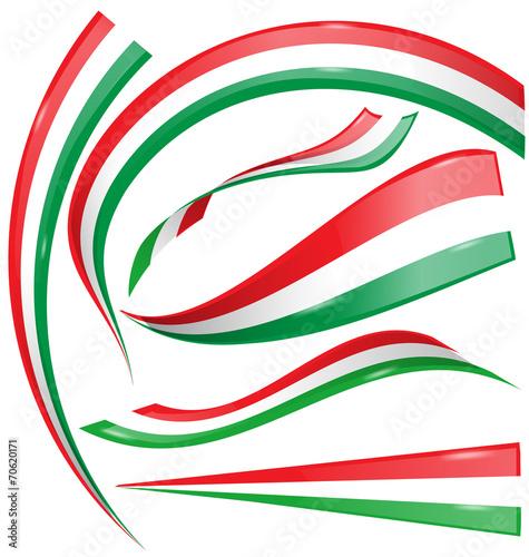 Zestaw włoski i meksykański flagi na białym tle
