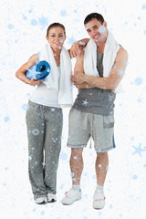 Composite image of portrait of a couple going to practice yoga