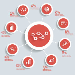 Analysis info graphic design concept red version,clean vector