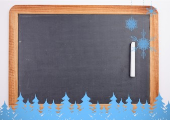 Snowflakes and fir trees in blue