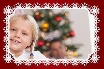 Cute girl smiling at christmas