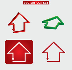 Color building and house icon set