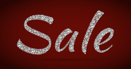 Shiny sale tag on red background.